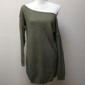 Wide Neck /Off The Shoulder Loose Sweater Tunic
